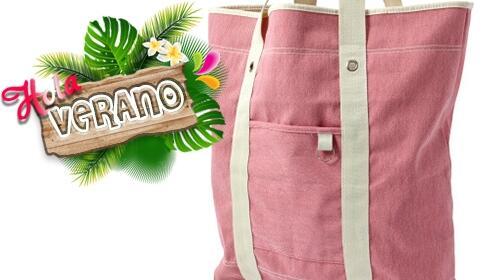 ¡Hola verano! Bolsa de algodón rosa para la playa o la piscina por 5.95€
