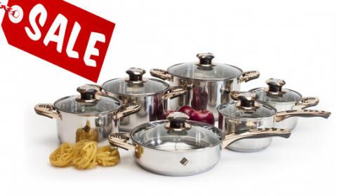 Batería de cocina profesional de 12 piezas en acero inoxidable
