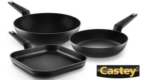 Conjunto de Castey Titanium: sartén, grill y wok